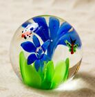 Art Glass PAPERWEIGHT Vintage CONTROLLED BUBBLE Floral BUTTERFLIES Insect Sphere