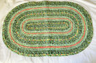 VINTAGE OVAL FABRIC RAG RUG HANDMADE FOLK ART COUNTRY Pink Green Quilted Sewn
