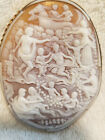 Very Large Cameo Pin Brooch Necklace 14k Signed Gemar