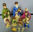 Vtg Japan Chalkware Nativity Set 10 Pcs Josef 3 Wiseman