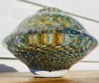 Signed Mark J Sudduth Controlled Bubble Blown Glass Oil Lamp Vase Paperweight