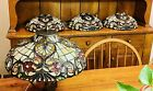 Vintage Art Deco Stained Glass Matching Wall Sconces  Ceiling Mount