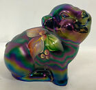 Fenton Indigo Purple Carnival Glass HAPPY PIG Hand Painted Figure by S Waters