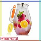 GLASS PITCHER with Lid for Juice Iced Tea Water Hot Cold Beverage 75 Oz HIWARE