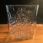 Hand Blown Studio Glass Vase MCM Design Clear Dimpled Pattern