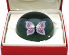 Captivating BACCARAT Pink BUTTERFLY Glass PAPERWEIGHT