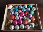 Vintage Colorful Chippy Mixed Shapes Glass Christmas Tree Ornaments Lot of 34
