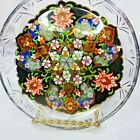 Vintage Pasabahce Turkish Gilt Painted Glass Plate Ottoman Style Reverse Painted