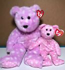 Ty Beanie Buddy and Baby BRAVO and FIZZ pastel polka dot New Easter basket