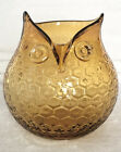 Amber Glass Owl Pitcher Vase Hand Blown Applied Eyes Honeycomb Texture 65