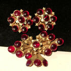 Rare Vintage Signed HAR Gilt Red Glass Dangle Brooch Pin  Clip Earrings Set A25