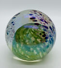 Glass Eye Studio Paperweight 1985 Signed MSH VIOLET Flowers Green Ball Inside