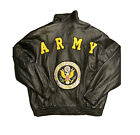 USA US ARMY BLACK EMBROIDERED PATCH LEATHER JACKET VINTAGE MENS Medium