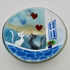 Small fused studio art glass bowl dish hearts cats house Kaddiotn Greece signed