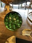 Green Glass paperweight large heavy some signs of wear 6 x 6 14 cm doorstop