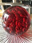 Red Glass paperweight large heavy some signs of wear 6 x 6 14 cm doorstop