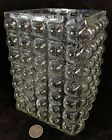 Mid Century Modern Clear Glass Square Bubble Quilted Optic Vase