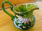 Exquisite RARE ANTIQUE Small Green Glass Pitcher RAISED Fern Leaf Berries