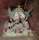 Shabby Chic Roses Pink Christmas Village Victorian Creche Nativity Scene Jesus