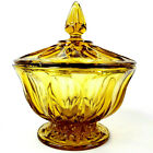 Vintage Indiana Glass Covered Candy Dish Amber Thumb Print Pattern