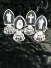 4 Carved Glass Intaglio Religious Statues on Pedestal Base with Silver Accent