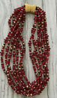 vintage Multi Strand Red Art Glass Gold Bead necklace