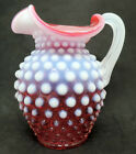 Fenton Opalescent Cranberry Glass Small Pitcher w Handle Hobnail 5 1 2