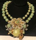 Rare Vintage Signed Miriam Haskell Gilt Hand Wired Green Glass Ornate Necklace