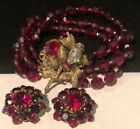 Rare Vintage Signed Miriam Haskell Gilt Red Glass R S Bracelet  Earrings Set