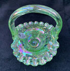 Fenton Art Glass Iridized Miniature Lime Opalescent Mini Basket 375 tall