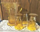VINTAGE INDIANA GLASS TIARA HONEY AMBER SWEET PEAR 9 PITCHER  3 GOBLETS