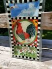 PEGGY KARR GLASS CHECKERED ROOSTER CHANTICLEER RECTANGULAR TRAY SIGNED