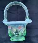 Fenton Art Glass Green Opalescent Hand Painted Floral Mini Basket 475 Tall