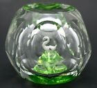 Lovely PERTHSHIRE Multifaceted SWAN LAKE Art Glass PAPERWEIGHT with Box