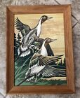 Vintage Paint By Number 2 Ducks Mallards Framed Art Painting PBN 1960s