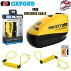 Oxford Screamer 7 Alarm Disk Lock Yellow Motorbike Moped Free Reminder Cable New