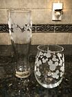 DISNEY MICKEY MOUSE FROSTED ETCHED 1STEMLESS WINE GLASS 1PILSNER BEER GLASS