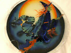 Peggy Karr Fused Glass platter Halloween Witch with cat signed retired rare
