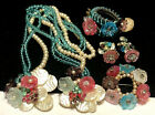 Miriam Haskell Parure Rare Signed Horseshoe Blue Pink Glass Pearl 4Pc Book Set