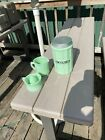3 Jade Glass Jadeite Cookie Jar Squeezer And Measuring Cup Reproduction
