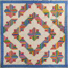 Log Cabin Multi Colored QUILT TOP Barn Raising Pattern Queen size