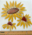 Large Sunflowers With Natural Agate Slice Center Broken China Mosaic Tiles