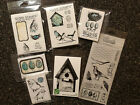 Cling Rubber And Acrylic Stamp LOT BIRDS NEST EGGS BIRDHOUSE MOSTLY NEW