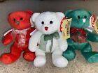 Ty Beanie Babies. Hark The (red, white and green) Bears