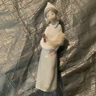 Lladro Figurine #4677 Shepherdess Girl with Rooster Chicken - Mint Condition