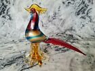 Vintage Murano Glass Pheasant Bird Road Runner Rooster Colorful Gold Aventurine