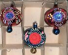 3 Vintage Glass Christmas Double Indent Ornaments Poland Finials Hand Painted