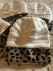 CC BEANIE CAP Ivory & Leopard Print *Cable Knit Skull Stocking Cap *NEW in pk