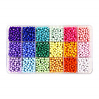 MAKERSLAND 2500+pcs Faceted Beads Set in 18 Colors Plastic Opaque Rainbow Loose
