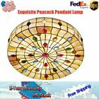 18 Tiffany Style Stained Glass Peacock Ceiling Light Flush Mount Chandelier US